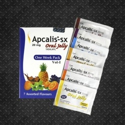 Apcalis-SX Oral Jelly 7 Assorted Fruit Taste Packs 20mg (Tadalafil, Ajanta)